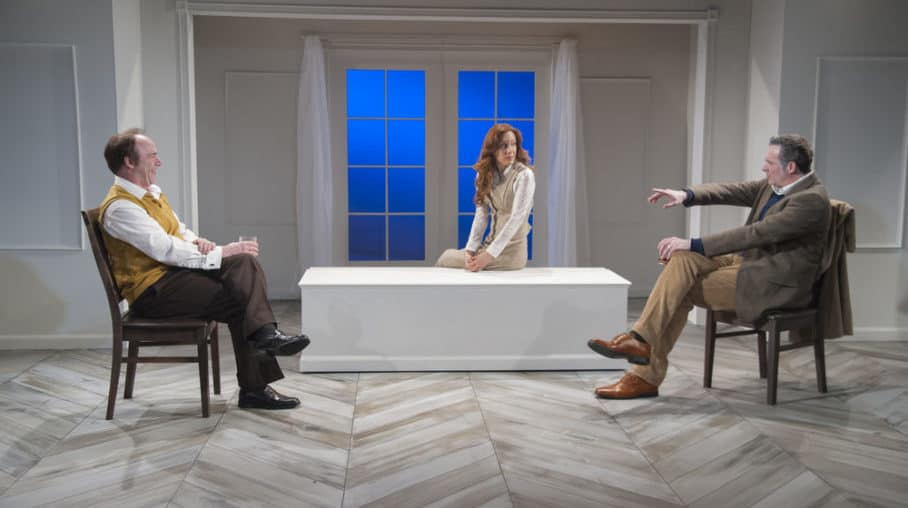 Matthew Lawler as Robert, Dena Tyler as Emma, and Aiden Redmond as Jerry in MST's 2017 production of Betrayal