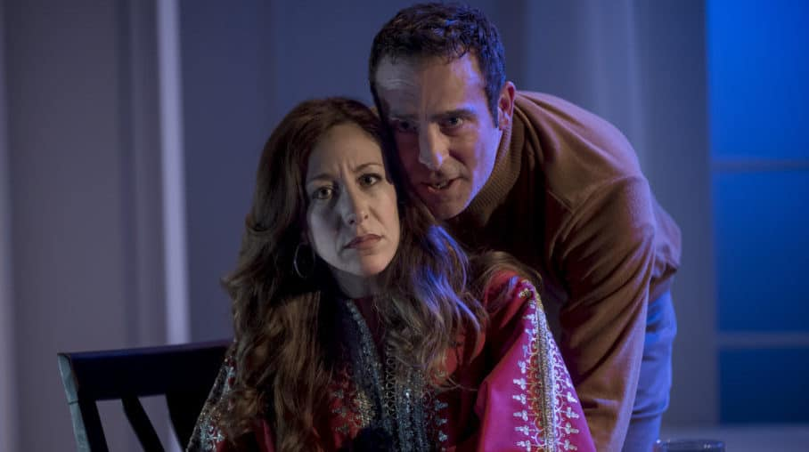 Aiden Redmond as Jerry and Dena Tyler as Emma in MST's 2017 production of Betrayal